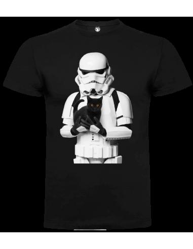 Camiseta trooper con gato unisex