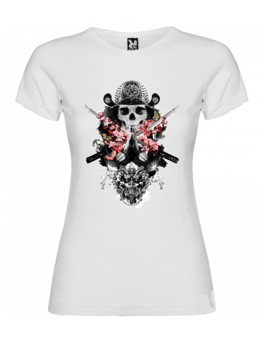 Camiseta calavera samurai mujer
