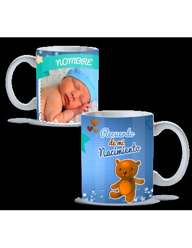 Taza nacimiento personalizada con foto y oso
