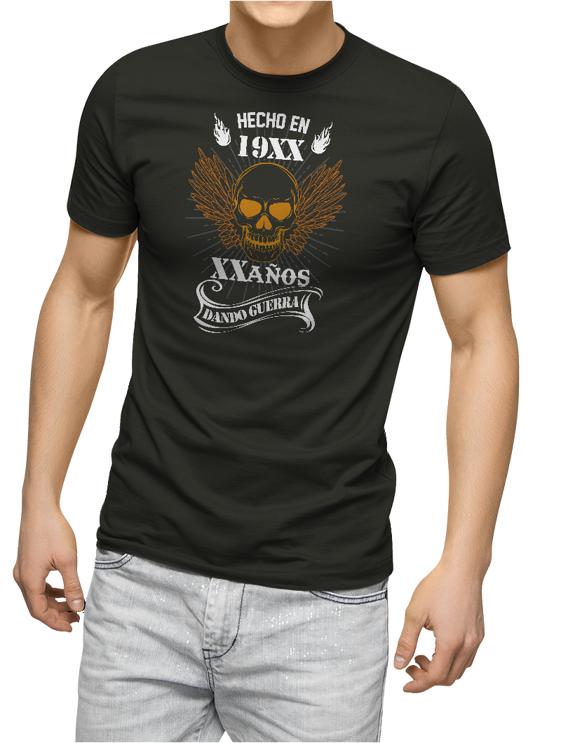Camiseta Hecho en (año) xx años dando guerra ....
