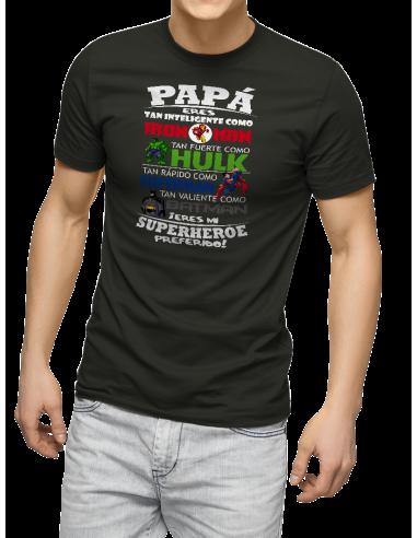 Camiseta papá eres mi superhéroe Plomo XL